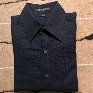 Navy blue seersucker Theory shirt